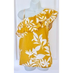 Old Navy Mustard Yellow One Shoulder Floral Tank